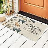 Felpudo para puerta de entrada de gato, dibujado a mano, 15,7 x...