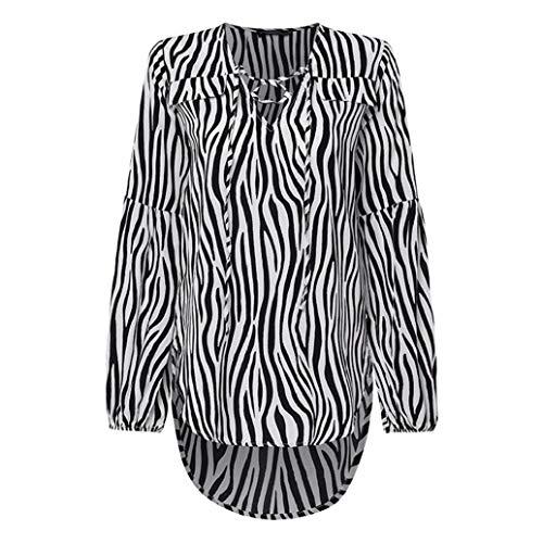 Frauen Bluse Sexy V-Ausschnitt Shirts Fliege Herbst Casual Laterne Langarm Lace Up Zebra Patter Dame Arbeit Asymmetrische Tops