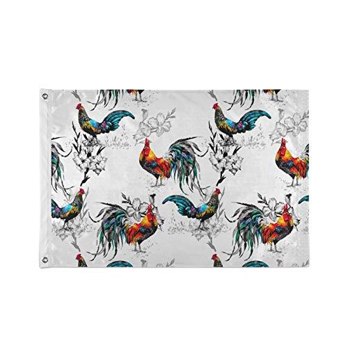 Ahomy Flagge, 60 x 90 cm, lebendige Farben & UV-widerstandsfähig, Bauernhof-Hahn- & Blumenflaggen, Polyester mit Ösen, 60 x 90 cm