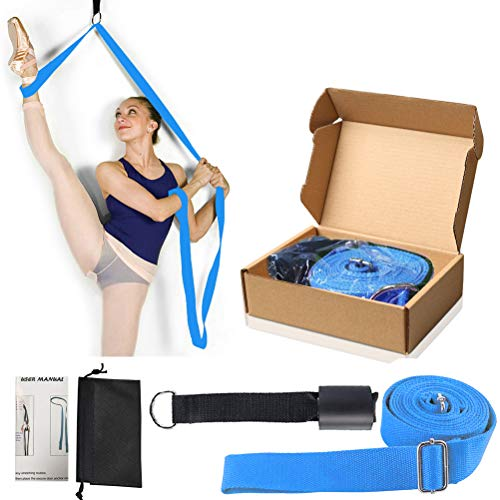 KimDaro Leg Stretcher, Door Flexibility & Stretching Leg Strap - Great for Ballet Cheer Dance Gymnastics or Any Sport Leg Stretcher Door Flexibility Trainer Premium Stretching Equipment (Blue)