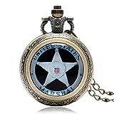 Orologio da tasca retrò, stile maresciallo degli Stati Uniti tema vetro cupola orologio da tasca per gli uomini, bronzo quarzo orologi da tasca regalo
