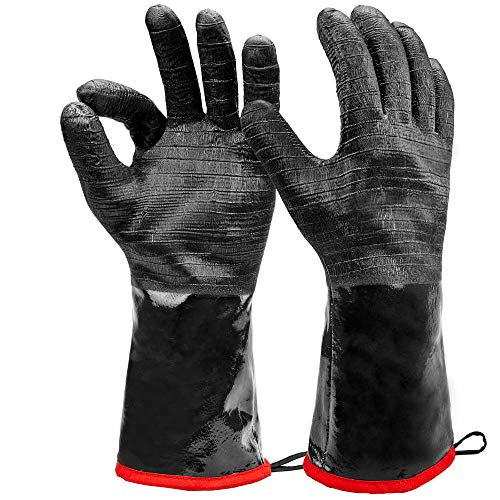Heat Resistant BBQ Gloves Long Sleeve Grill Gloves Textured Gript Handle Wet Geasy or Oily Foods Fire and Food Safe Turkey Fryer grillOven Mitts for Smoker Grilling and Barbecue XL Size 14