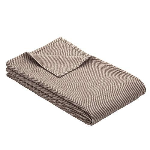 Ibena Turin Wolldecke 140x200 cm – Kuscheldecke espressro gestreift aus Biobaumwolle, angenehm weich und warm, Made in Germany