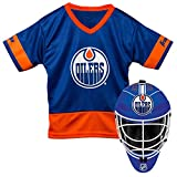 Franklin Sports Edmonton Oilers Kid's Hockey Costume Set - Youth Jersey & Goalie Mask - Halloween Fan Outfit - NHL Official Licensed Product