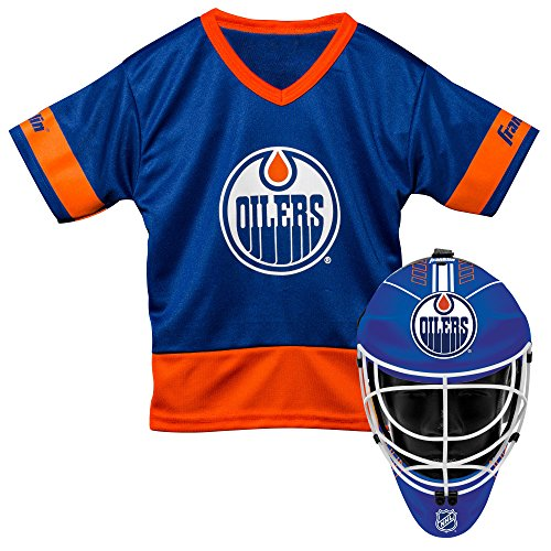 Franklin Sports Edmonton Oilers Kinder Hockey Kostüm Set – Jugend Trikot & Torwartmaske – Halloween Fan Outfit – NHL Offizielles Lizenzprodukt