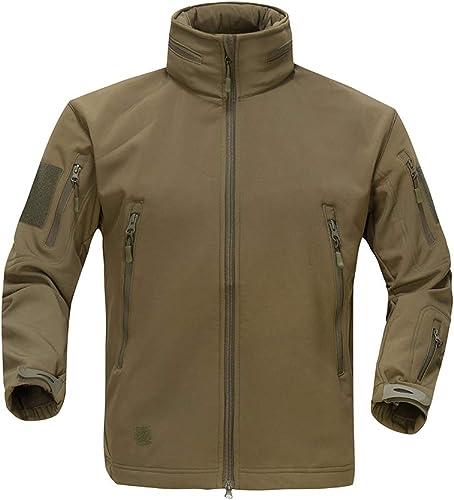 Sichouzhilu Toison Vestes pour des Hommes Coupe-Vent Imperméable De Plein Air Manteau Veste avec Fermeture à Glissière Complète,4,S
