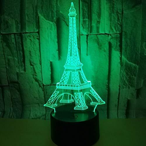 Xc Coloré Tour Eiffel 3D Lumière,Visuel Lumière Stéréo Creative, LED Tactile Interrupteur Lampe De Table, Gradient Night Light, Cadeau D'anniversaire (Taille : Touch the black remote control)