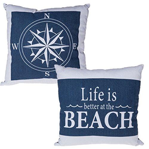 2er Set Kissen Maritim 40x40 cm Baumwolle mit Füllung , Anker oder Steuerrad Zierkissen Dekokissen Sofakissen Segler Boot Schiff