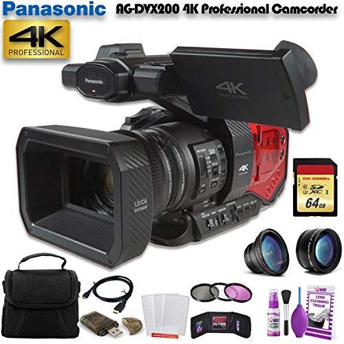 Lowest Price! Panasonic AG-DVX200 4K Professional Camcorder (AG-DVX200PJ8) W/ 64GB Memory Card, Bag,...
