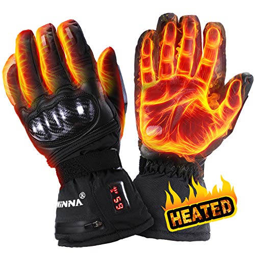 winna Heated Gloves for Women and Men, Battery Powered Electric Heated Motorcycle Gloves, Skiing,Hiking, Windproof, Touchscreen Enabled (Large)