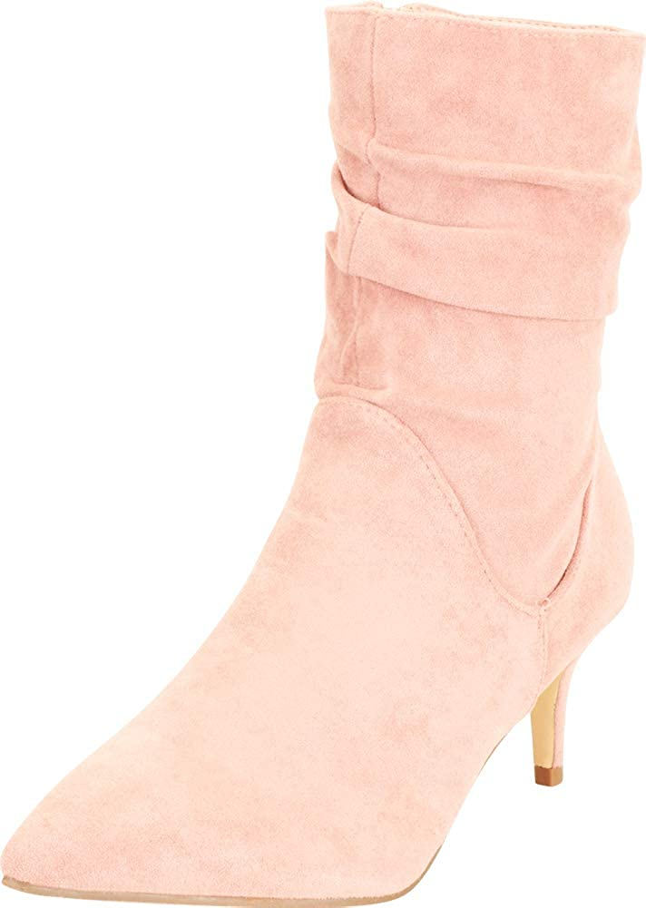 Cambridge Select Women's Pointed Toe Ruched Slouch Low Kitten Heel Ankle Boot