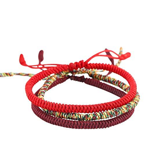 Lucky Buddhist Tibetan Pulseras de la Suerte - Amuletos para Hombres y Mujeres - Encerado Muñequeras Ajustables de Amistad - Hechas a Mano (Conjunto De 3 Bacelets)