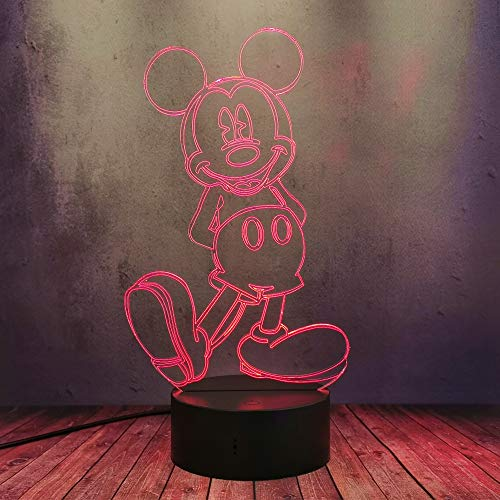 LED táctil remoto acrílico lámpara de escritorio lindo feliz Minnie Mickey Mouse 3D noche luz USB 16 color ilusión dibujos animados de mesa cumpleaños regalo niño dormitorio decoración iluminación