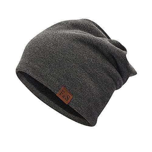 ManxiVoo Adults Slouchy Skull Cap Knit Beanie Baggy Hat Stretch Infinity Scarf Head Wrap Caps for Men Women (Dark Gray)