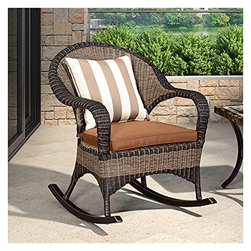 DGDF Silla mecedora reclinable al aire libre, marco de aleación de aluminio, silla retro de ratán PE, adecuado para jardín, terraza, patio 60 x 86 x 89 cm