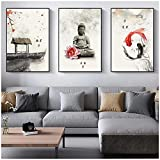Muzimuzili Chino Estilo Vintage Budista Posters Peces e Impresiones Tinta Coloreada Pintura Tradicional para la...