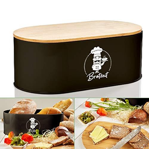 bambuswald© Brotbox aus Metall mit ökologischem Deckel aus Bambus - ca 33,5x18x13cm   Brotkasten für Croissants, Brot o. Brötchen   Brotbehälter mit Küchenbrett   Aufbewahrung Vorratdose Brotdose
