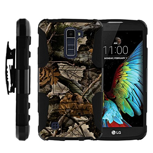 TurtleArmor | Compatible with LG K10 Case | LG Premier Case [Hyper Shock] Hybrid Dual Layer Armor Holster Belt Clip Case Kickstand - Tree Leaves Camouflage
