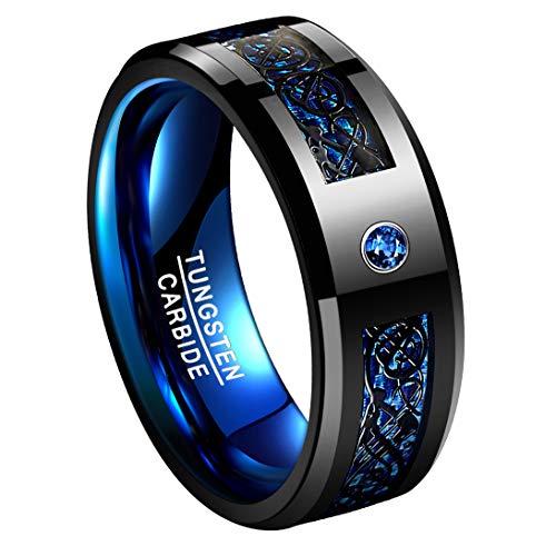 TUNGSTORY 8mm Celtic Dragon Wedding Ring for Men Blue Carbon Fiber Tungsten Carbide Engagement Band with CZ Inlay Size 7