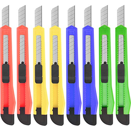 8Pack Utility Knife Box Cutters(9MM Wide Blade Cutter 4 Colors) Utility Knife Retractable, Compact, Extended Use for Heavy Duty Office, Home, Arts Crafts, Hobby