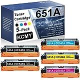 5-Pack (2BK+1C+1M+1Y) 651A RemanufacturedToner Cartridge Compatible Replacement for HP 651A | CE340A CE341A CE342A CE343A Laserjet Enterprise 700 Color MFP M775dn(CC522A) M775f(CC523A) Printer Toner