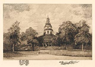 The State House, Annapolis, MD: Robert Shaw Etching, Signed & Numbered Artist's Proof, Chine-colle with remarque, 1906