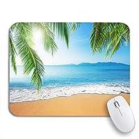 ROSECNY 可愛いマウスパッド サンドパームとトロピカルビーチサンセットオーシャンツリーコーストライン滑り止めゴムバッキングコンピュータマウスパッドノートブックマウスマット
