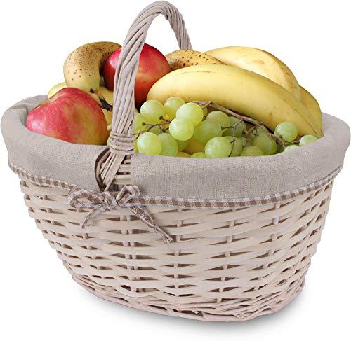 normani Flechtkorb für Unterwegs, Einkaufskorb, handlicher Korb, Picknickkorb Lovely Willow
