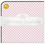 SwaddleDesigns Large Receiving Blanket, Ultimate Swaddle for Baby Boys, Girls, Softest US Cotton Flannel, Best Shower Gift, MADE in USA, Brown Polka Dots on Pastel Pink, Mom's Choice Winner