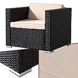 Arebos Poly-Rattan Gartenlounge Sessel | Inkl. Sitz- und Rückenkissen | Schwarz | Wetterbeständiger Garten-Sessel | 85 x 75 x 34 cm