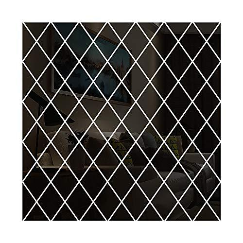 FiveFive Adhesivo decorativo para pared con diseño de mosaico de diamantes en 3D, para decoración del hogar, 50 x 100 cm, 32 unidades, color negro