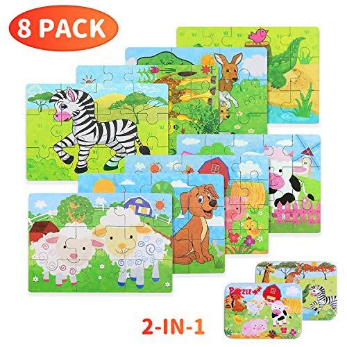 BBLIKE Puzzles de Madera 112 Piezas, Animales Rompecabezas de Madera Puzzles Infantiles 3 4 5+ años, Habilidad motora Fina Juego de Regalo Educativo Preescolar de Aprendizaje temprano para niños