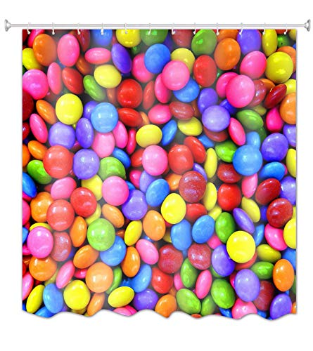 A.Monamour Bunte Regenbogen-Pille Geformte Süßigkeit 3D-Bild-Druck Wasserdicht Mehltau Beweis Stoff Polyester Duschvorhang Für Bad Décor 150X180 cm / 60