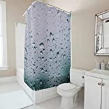 Antibakteriell Duschvorhänge Wassertropfen Glas aus Polyester Schimmelresistenter Blickdicht Shower Curtain mit Duschvorhangringe für Badezimmer Grau 180x200cm