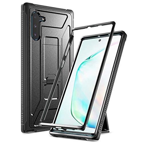Dexnor Handyhülle für Samsung Galaxy Note 10 Plus/ Note 10+ 5G (hülle Schutzhülle Version 2019) Militärischer 360 Ganzkörperschutz mit Ständer, ohne eingebaute Bildschirmschutzfolie - Schwarz