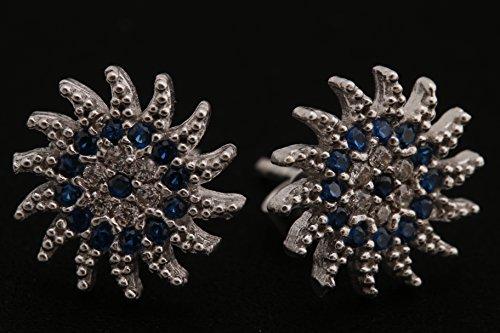 Sun Shape Special Design Turkish Evil Eye Handmade 925 Sterling Silver Round Cut Sapphire White Topaz Rhodium Stud Earrings