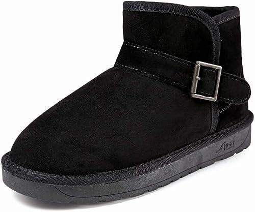 Oudan Stiefel de Invierno de imitación Piel de Oveja de Microfibra con Cordones Stiefel Cortas de Moda (Farbe   schwarz 1, tamaño   38)