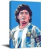 KINGAM RIP Diego Maradona - Póster moderno enmarcado para pared, diseño de leyenda del jugador de fútbol argentino Canve Art para sala de estar, dormitorio, estirado y listo para colgar
