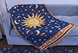 Erke 35'x60' Sun and Moon Stars Cushion Cover for Sofa Loveseat Slipcover Chair Furniture Protector Decor, Hippie Room Decorative Wall Hanging Celestial Tapestry (Yellow Blue, Small, 100% Cotton)