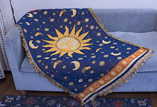 """Erke 35""""x60"""" Sun and Moon Stars Cushion Cover for Sofa Loveseat Slipcover Chair Furniture Protector Decor, Hippie Room Decorative Wall Hanging Celestial Tapestry (Yellow Blue, Small, 100% Cotton)"""