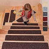 DanceWhale Juego de 15 Alfombrillas para Escaleras (20 x 76 cm), Antideslizantes Autoadhesivo Tapetes de Seguridad para Interiores para Niños, Mayores y Mascotas, Café