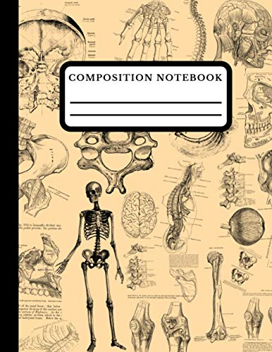 Composition Notebook: Antique Human Anatomy Wide Ruled Standard Composition\ Writing Book For Elementary School Kids. College And School Use For All Ages. Biology Design Cover Blank Lined Book.
