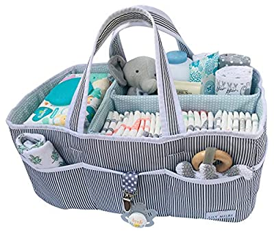 Lily Miles Baby Diaper Caddy - Large Organizer Tote Bag for Infant Boy or Girl - Baby Shower Gift - Nursery Must Haves - Registry Favorites - Collapsible Newborn Caddie Car Travel from Lily Miles