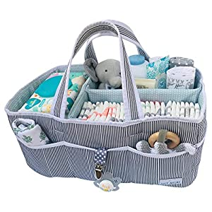 Lily Miles Baby Diaper Caddy – Large Organizer Tote Bag for Infant Boy or Girl – Baby Shower Gift – Nursery Must Haves – Registry Favorites – Collapsible Newborn Caddie Car Travel