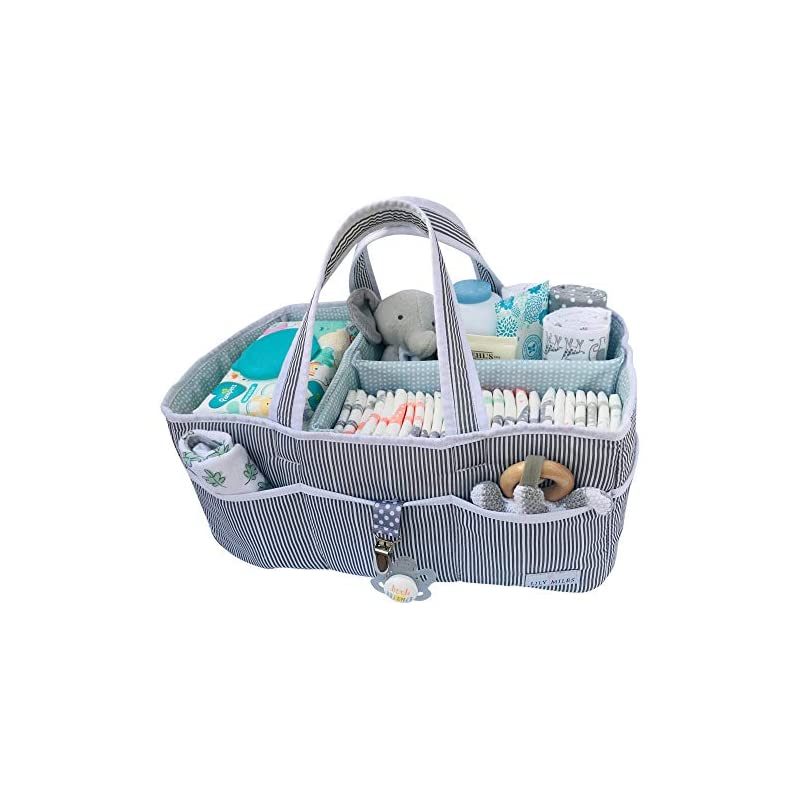 crib bedding and baby bedding lily miles baby diaper caddy - large organizer tote bag for infant boy or girl - baby shower gift - nursery must haves - registry favorites - collapsible newborn caddie car travel
