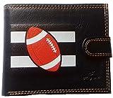 Syl'la - Portafoglio da uomo, con porta monete, per carte di credito, con patelle, Rugby (Nero) - portrabat-francefoot