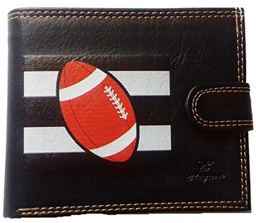 Schutzhülle für Herren, Geldbörse, Karten, Papiere mit Klappdeckel, Rugby (Schwarz) - portrabat-francefoot