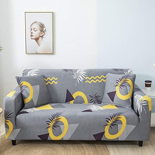 Tryckt sofföverdrag Stretch Fit Anti-halkskydd mot soffa Gul brun vit modell på grå bakgrund 4-Seat 235-300cm