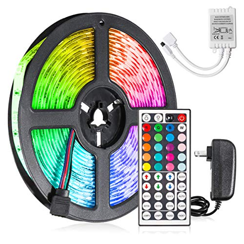 Jestar 5M 16.5ft LED Light Strip SMD 5050 RGB Waterproof with 44-Keys IR Remote Power Supply Flexible Color Changing LED Lighting Kit 150 LEDs for Home TV Backlit Bedroom Kitchen Indoor Decoration