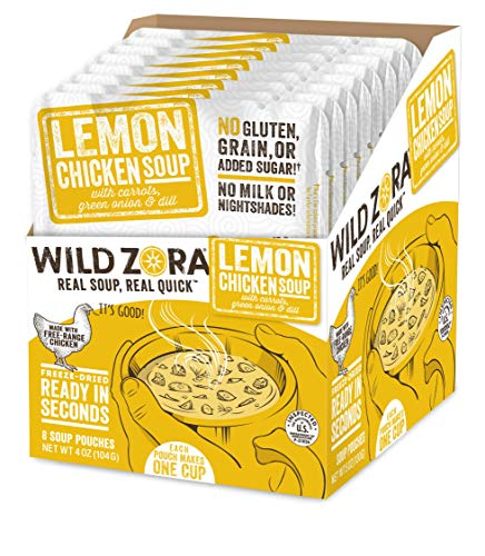 Wild Zora Instant Keto Soups - Lemon Chicken - Healthy Broth with Free Range Chicken and Vegetables - Gluten Free, AIP Friendly, No Milk Or Nightshades, Low Carb - Individual Packets (8-Pack)